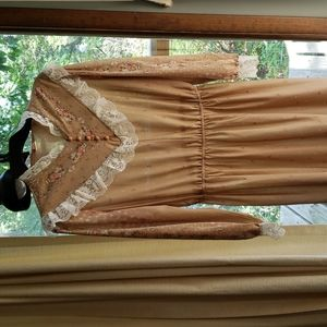 Vtg 70s floral lacy sheer prairie style dress M